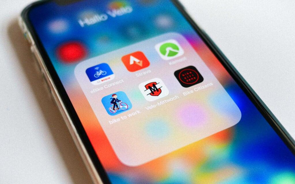Velo-Apps auf einem Smartphone