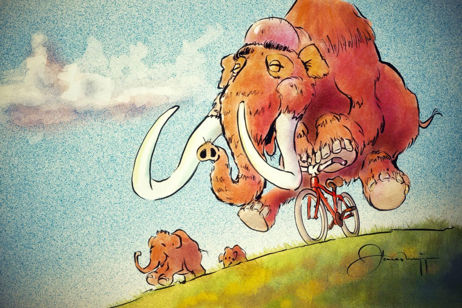 Manfred Mammut fährt Velo, Illustration von Hannes Munzinger