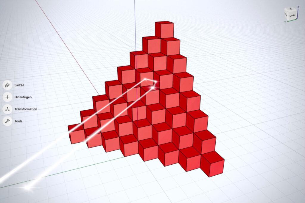 3D-Darstellung eines Triplespiegel-Arrays mit Mikrowürfeln (Bild: Hannes Munzinger)